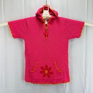 Short Sleeve Pink Knit Cotton Hoodie - Women's M